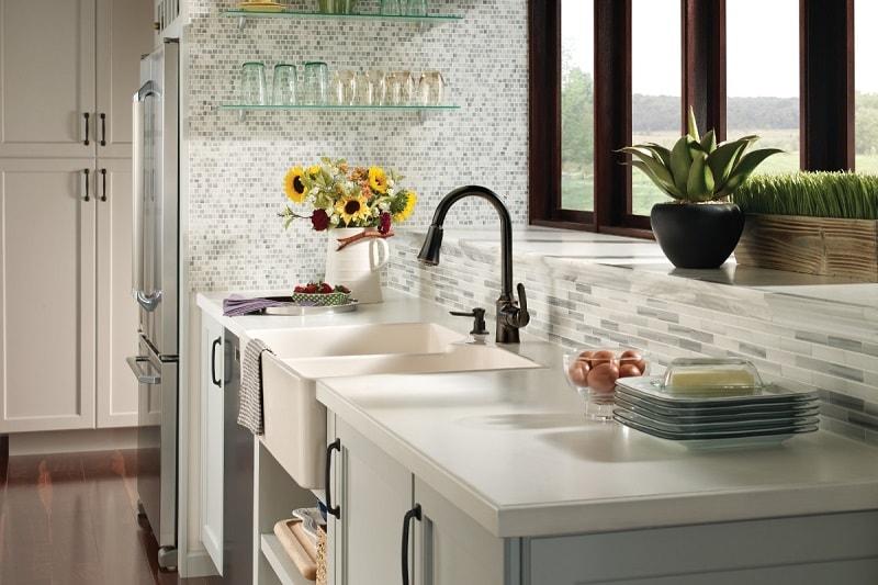 Bayhill Mediterranean bronze one-handle high arc pulldown kitchen faucet